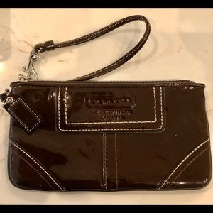 Coach vintage brown patent wristlet